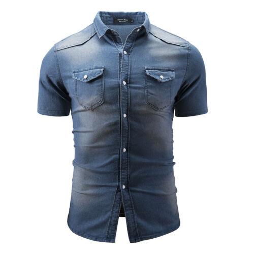 New Men/'s Casual Shirt Slim Fit Short Sleeve Dress Denim Shirt Jeans Tops D168