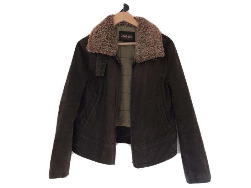 Honesty Really Wild Women's Suede Leather Aviator Sheepskin Collar Jacket Size 10