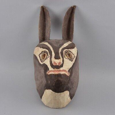 l4g36- Holz Eselsmaske aus Holz, bemalt, sign. Juan Lopez, Argentinien