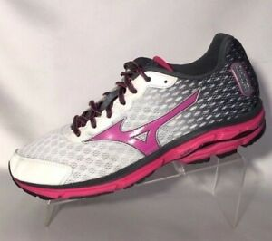 new product 66480 a5b94 Details about Mizuno Wave Rider 18 Running Training Shoes White Pink Gray  Womens Size 9.5 W