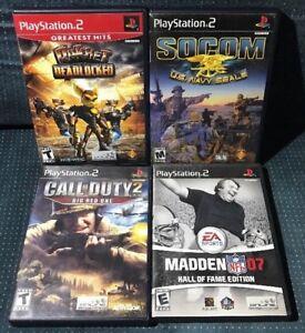 4-PlayStation-2-PS2-Games-Lot-Ratchet-Socom-Call-of-Duty-2-Madden-07