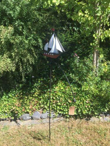 ArtFerro travail manuel métal jardin connecteur Bateau voilier rouge Carillon bascule