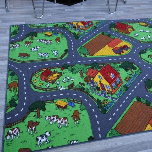 """kleiner Spielteppich /""""ANIMAL FARM/"""" Bauernhof Straßenteppich Kinderteppich"""