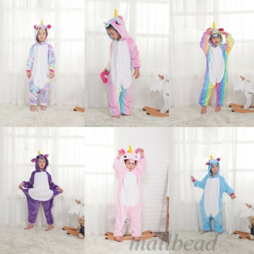 Kids Unicorn Pyjamas Rainbow Kigurumi Animal Cosplay Costumes Onsie28 Sleepwears