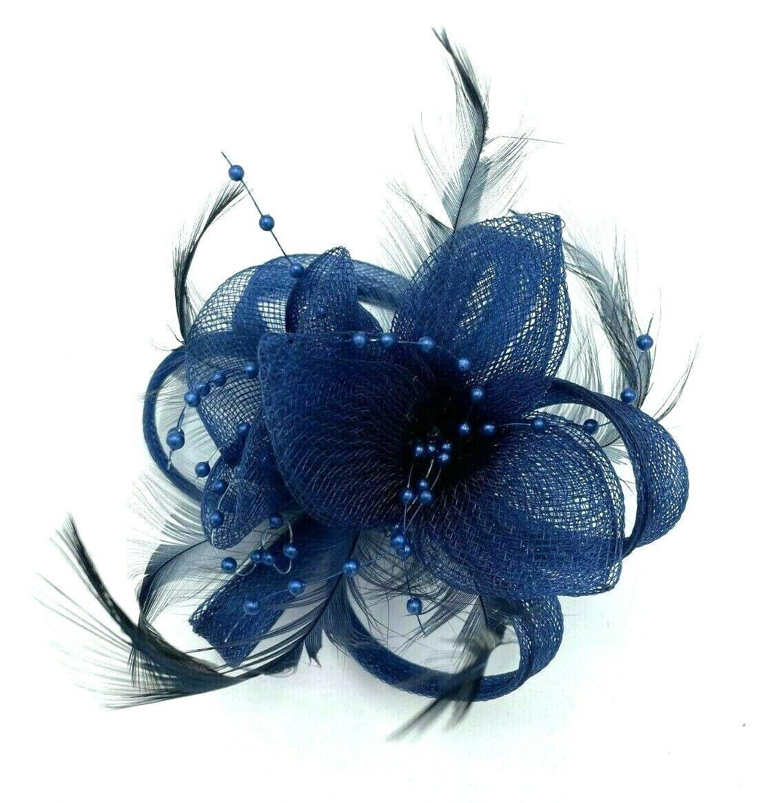 * New blue clip on pin hat fascinator corsage hair flower brooch wedding formal