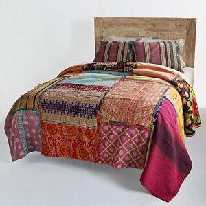 Image Is Loading Bohemian Patchwork Quilt  Vintage Kantha Throw Antique Kantha