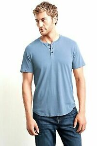 NEW VELVET BY GRAHAM /& SPENCER CHAMBRAY BLUE FULTON HENLEY T-SHIRT SZ M