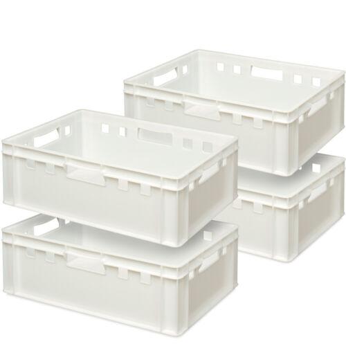 lebensmittelecht weiß 600 x 400 x 200 mm 4x Fleischkasten // Eurobehälter E2