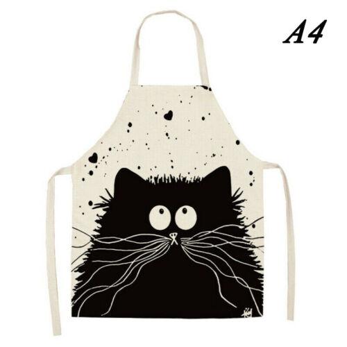 Kitchen Anti-Dirty Cartoon Cat Printed Cotton Linen Apron Cooking Waterproof Bib