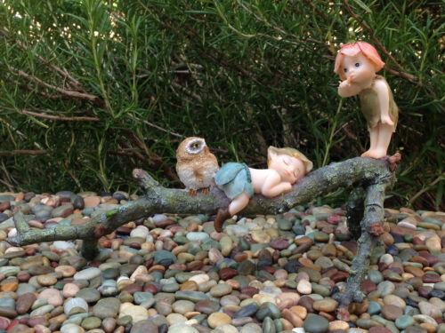 Miniature Figurine FAIRY GARDEN ~ Garden Sprites with Owl on Tree Branch ~ NEW