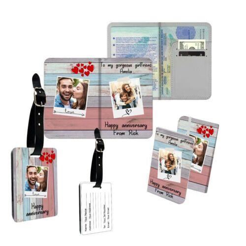 Imagen Personalizada Feliz Aniversario pasaporte Slim cubrir titular Etiqueta del equipaje