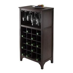 Wine Bar Cabinet Liquor Storage Furniture Wood Home Glass Rack