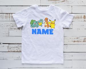 Kids Personalised Pokémon Inspired T-Shirt Top Gamer Pikachu Tee Gift Unisex