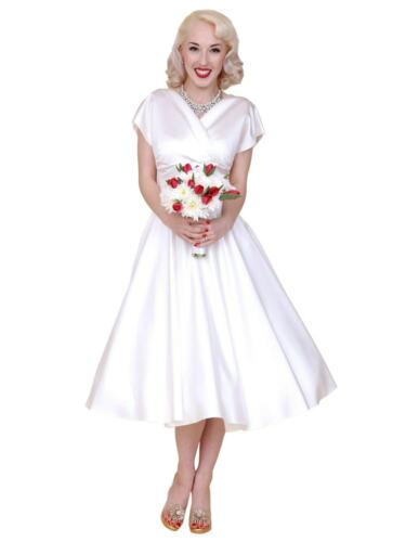 50s Wedding Dress, 1950s Style Wedding Dresses, Rockabilly Weddings    Womens 1950s Vintage Style Wedding Rockabilly Party Grace White Duchess Dress £120.00 AT vintagedancer.com