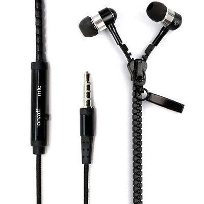 Fine 3.5mm In-Ear Earbuds Zipper Earphone Headset Headphone For iPhone Samsung