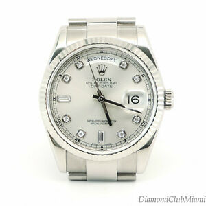 453f724a2b3 ROLEX PRESIDENT DAY-DATE 18K WHITE GOLD FACTORY DIAMOND DIAL WATCH ...