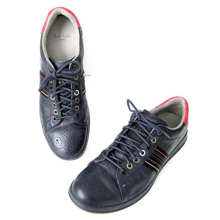 100% PAUL SMITH Rabbit Monolux NAVY BLU / ROSSO Leather Scarpe da Ginnastica US 8 ( 295)