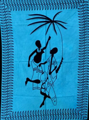 Blue Color Cotton Indian Art Small Tapestry Poster Hippie Fabric Wall Hanging