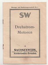 Montage & Bedienungsvorschrift SW Drehstrom Motoren Sachsenwerk Niedersedlitz