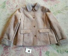 Lands End ladies faux sheepskin suede brown jacket coat size medium 10 - 12