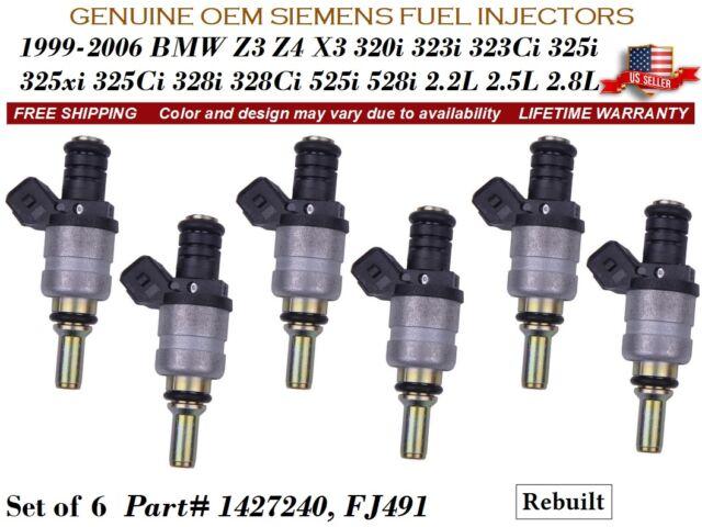 6 pcs Fuel Injector for BMW 325Ci X3 320i 325i 325xi 330Ci 330i 525i Z4 Z3 323Ci