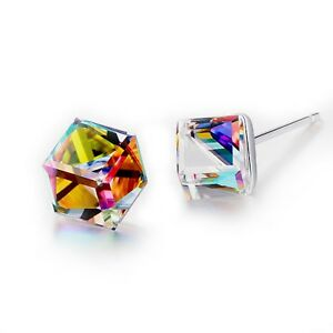 AEIWO 925 Sterling Silver stud made with Swarovski crystal cube earrings