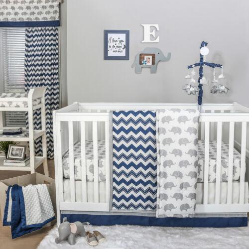 Navy Chevron and Grey Elephant 3 Piece Baby Crib Bedding Set by The Peanut Shell