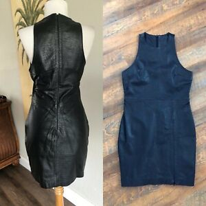 VTG-Black-Crocodile-Embossed-Leather-Sleeveless-Wiggle-Dress-Biker-North-Beach