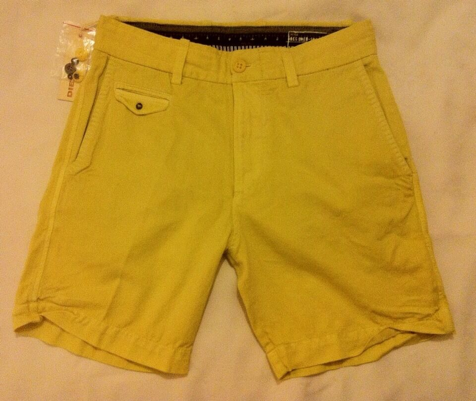 NEW MENS DIESEL SHORTS REGONEB Faded Vintage Style in Powder Yellow, 28