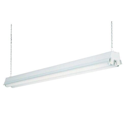 2-Light Steel Housing for T12 Fluorescent Shop Light Linear Bulbs with Reflector