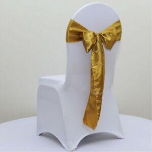 Dark Gold Satin Chair Sashes Ties Bow Ribbon Wedding Birthday Party Decoration Ebay