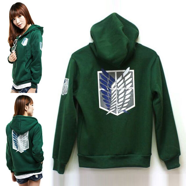 Attack on Titan Shingeki no Kyojin Scouting Legion Cosplay Hoodie Coat Green