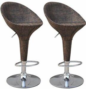 HOMCOM-Set-of-2-Pub-Barstool-Modern-Rattan-Wicker-Adjustable-Swivel-Home-Patio