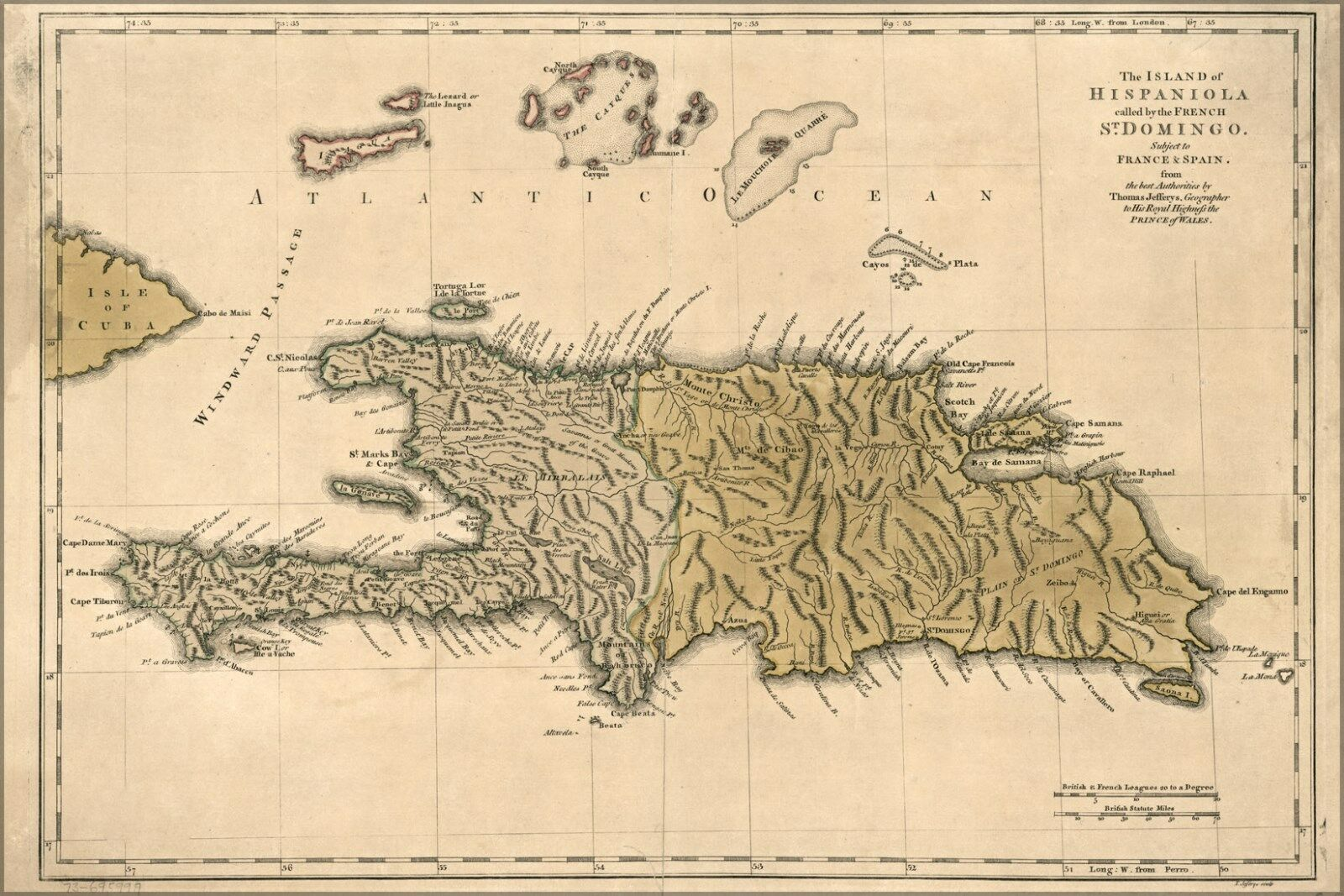 Poster, Many Größes; Map Of Hispaniola Haiti Dominican Republic 1762