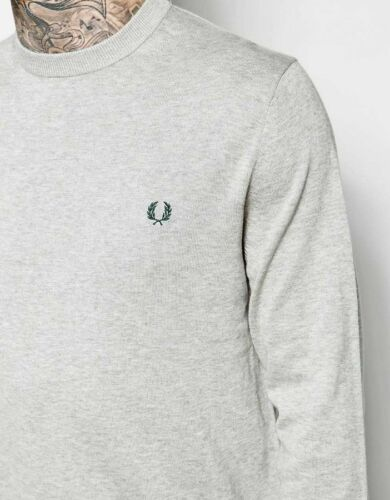 Small Medium Large XL XXL Fred Perry Classic Crew Neck Jumper Sweater Grey