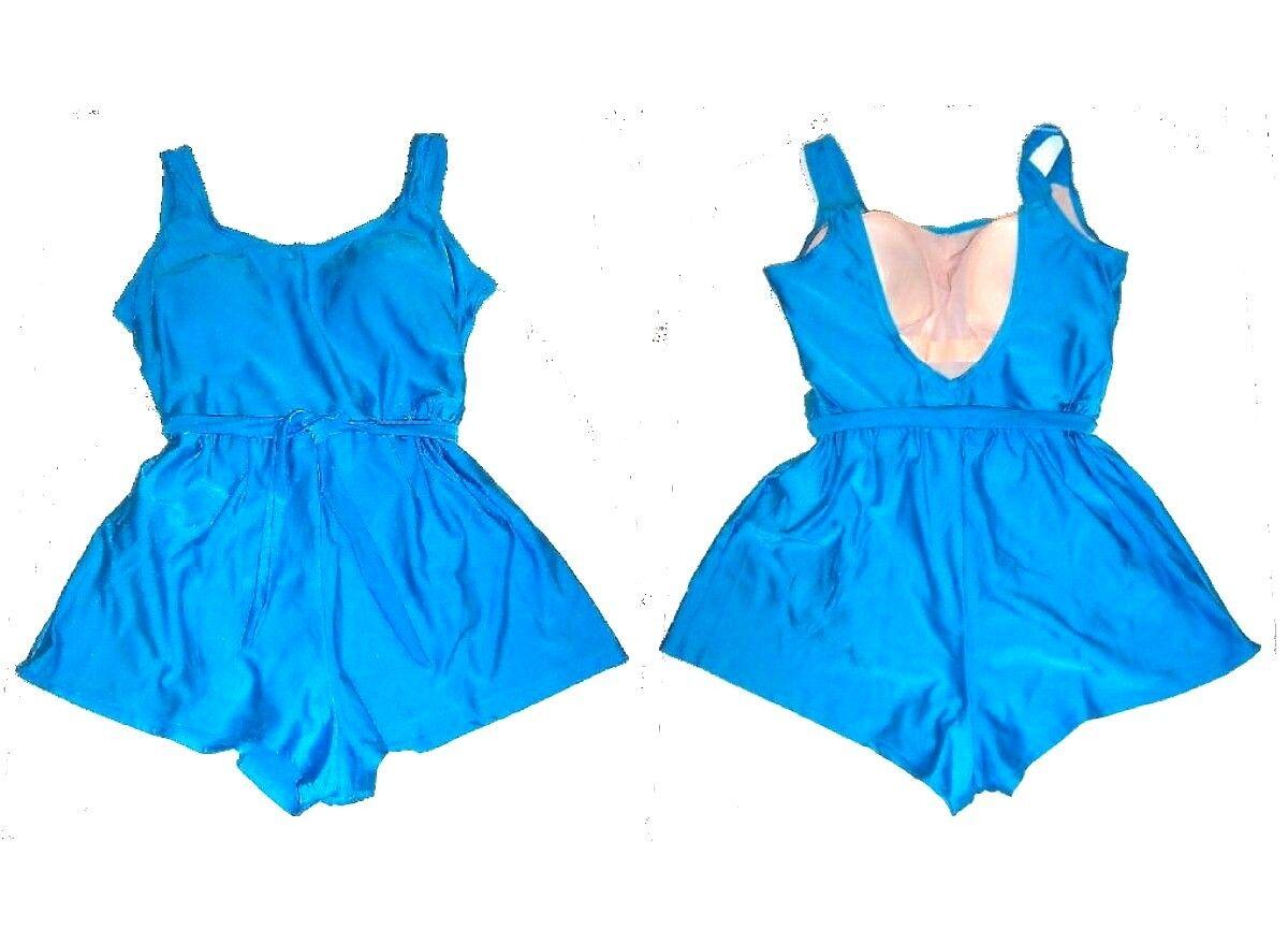 Sz 10-16 - Turquoise bluee One Piece Romper Boyshorts Swimsuit w Tummy Control