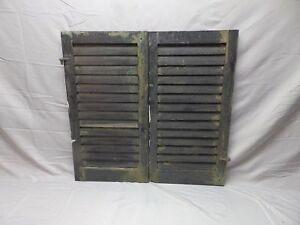 Image Is Loading Pair Vtg Small House Window Wood Louvered Shutters