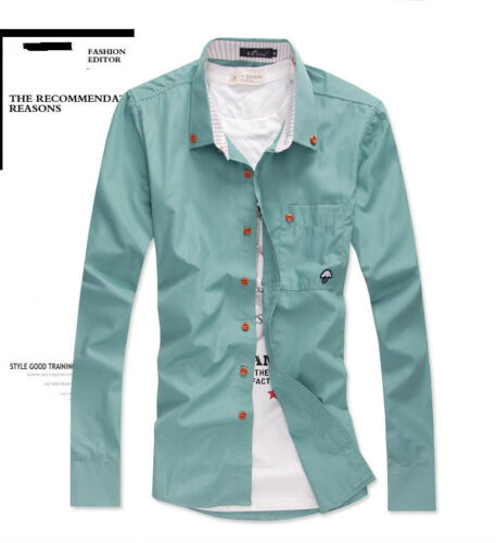 010 XS S M L Mens Fashion Casual Stylish Slim Fit Long Sleeve Shirt