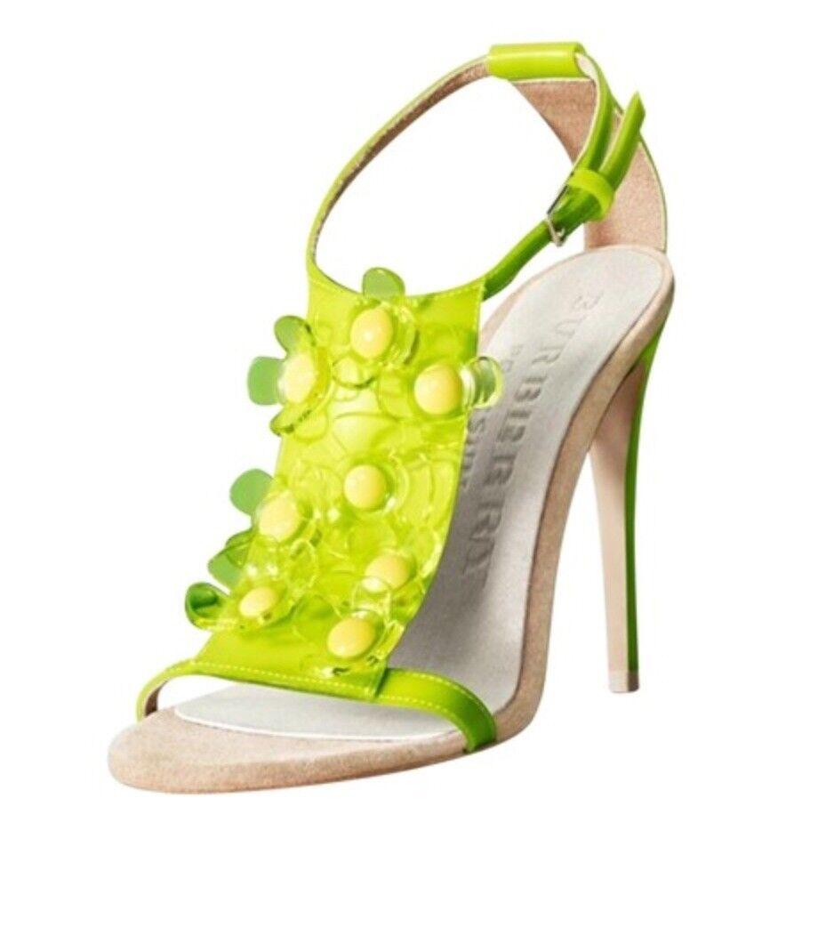 BURBERRY PRORSUM lemon floral sandals pumps w box Sz IT 39 US 9