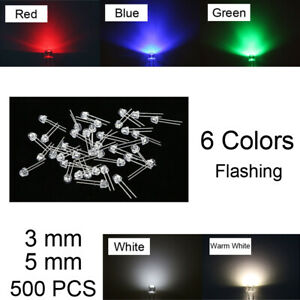 500Pcs-LED-Emitting-Diodes-F3-F5-3mm-5mm-Round-Warm-Green-Red-6-Color-Wide-Angle