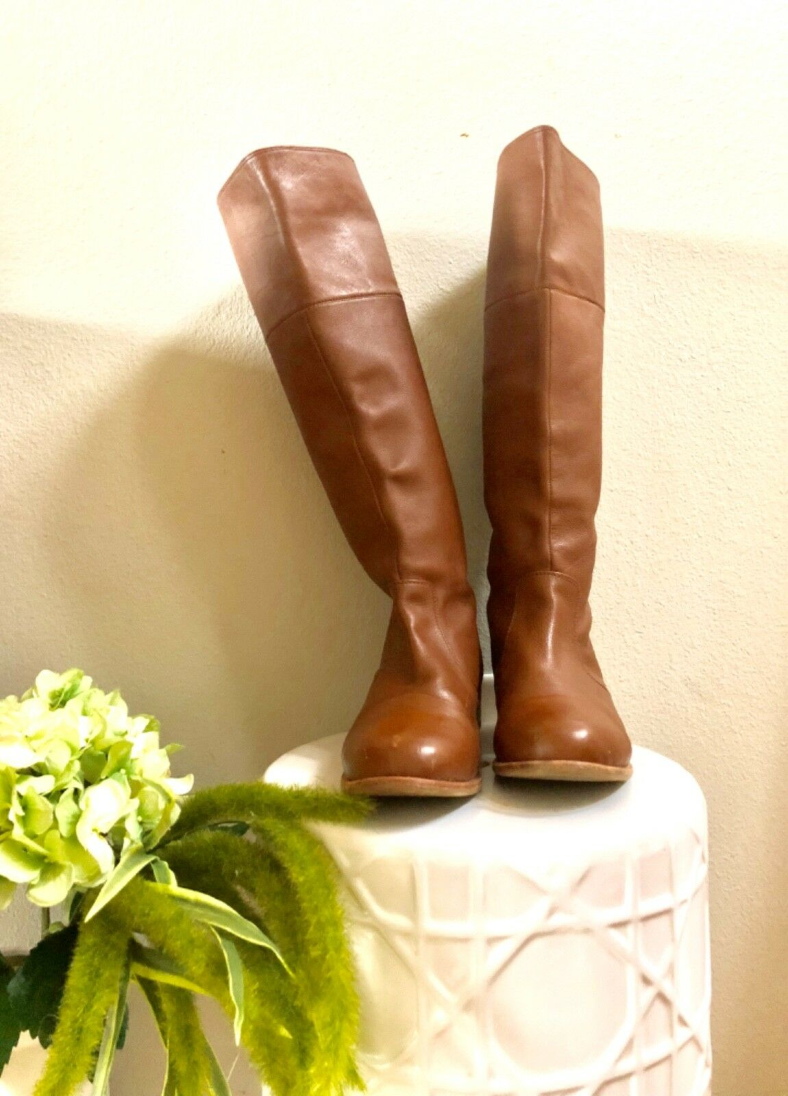Womens Tan Soft Leather Knee High Boots by FIEL. Size 9.5. Great Condition