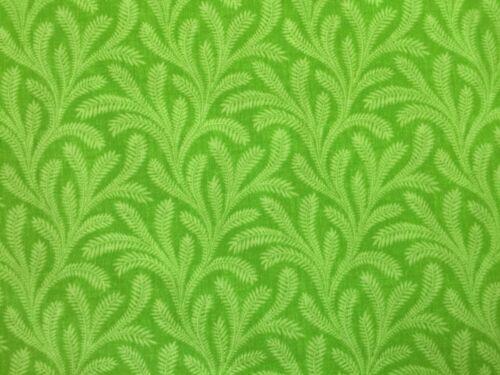 Verde Lima FQ cuarto Gordo Tela patrones de líneas de plantas 100/% Algodón Acolchado
