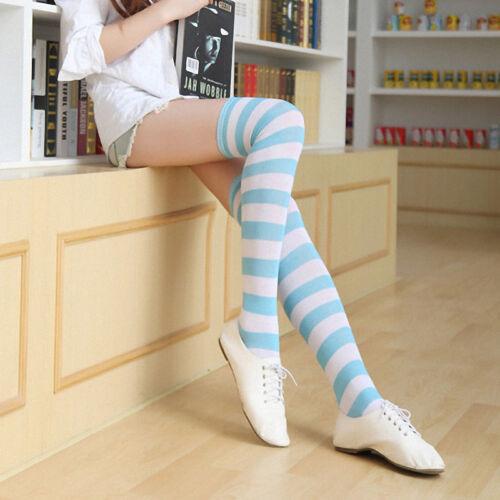 Fashion Femmes Chaussettes à Rayures Sur Le Genou Cuisse Haute Casual Long Chaud Stocking