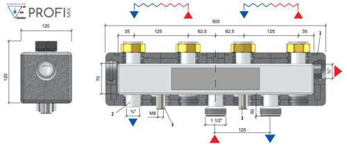 Kesselanschlussgruppe Environ Verteilerbalken 2-fach für Pumpengruppen