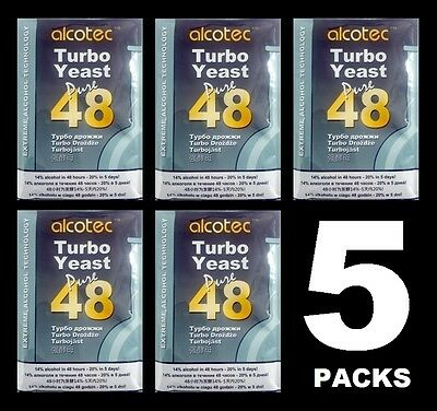 ALCOTEC TURBO YEAST 5 PK 48 HOUR DISTILLERS YEAST HOMEBREW ALCOHOL WHISKEY STILL