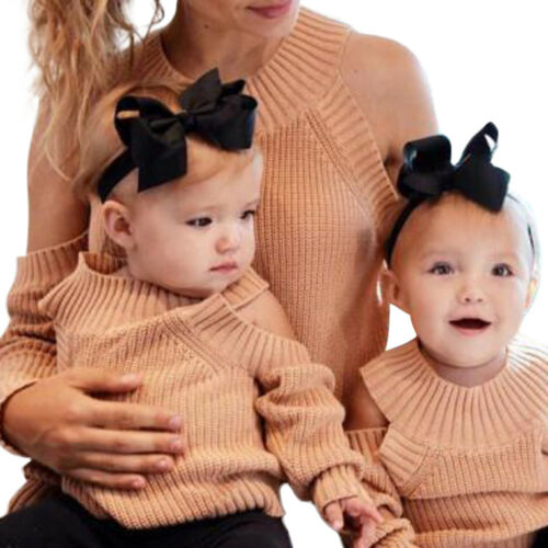 Fashion Mother Daughter Family Matching Sweater Girls Children Knitting Sweaters