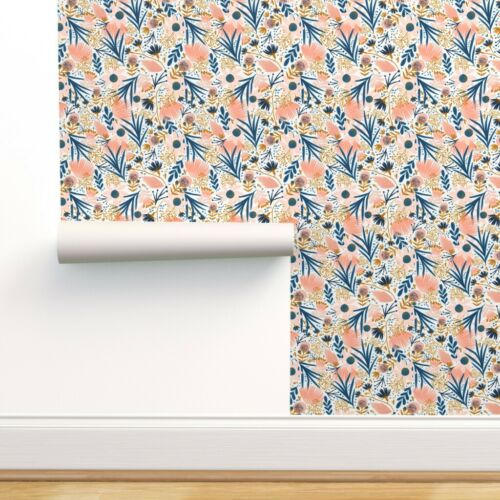 Peel-and-Stick Removable Wallpaper Modern Botanical Floral Chintz Coral Blue