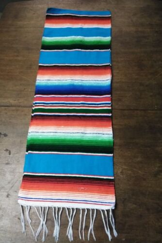 """Mexican Serape Table Runner 81/""""X14/"""",Party Decor XLARGE TURQUOISE MIX Saltillo"""