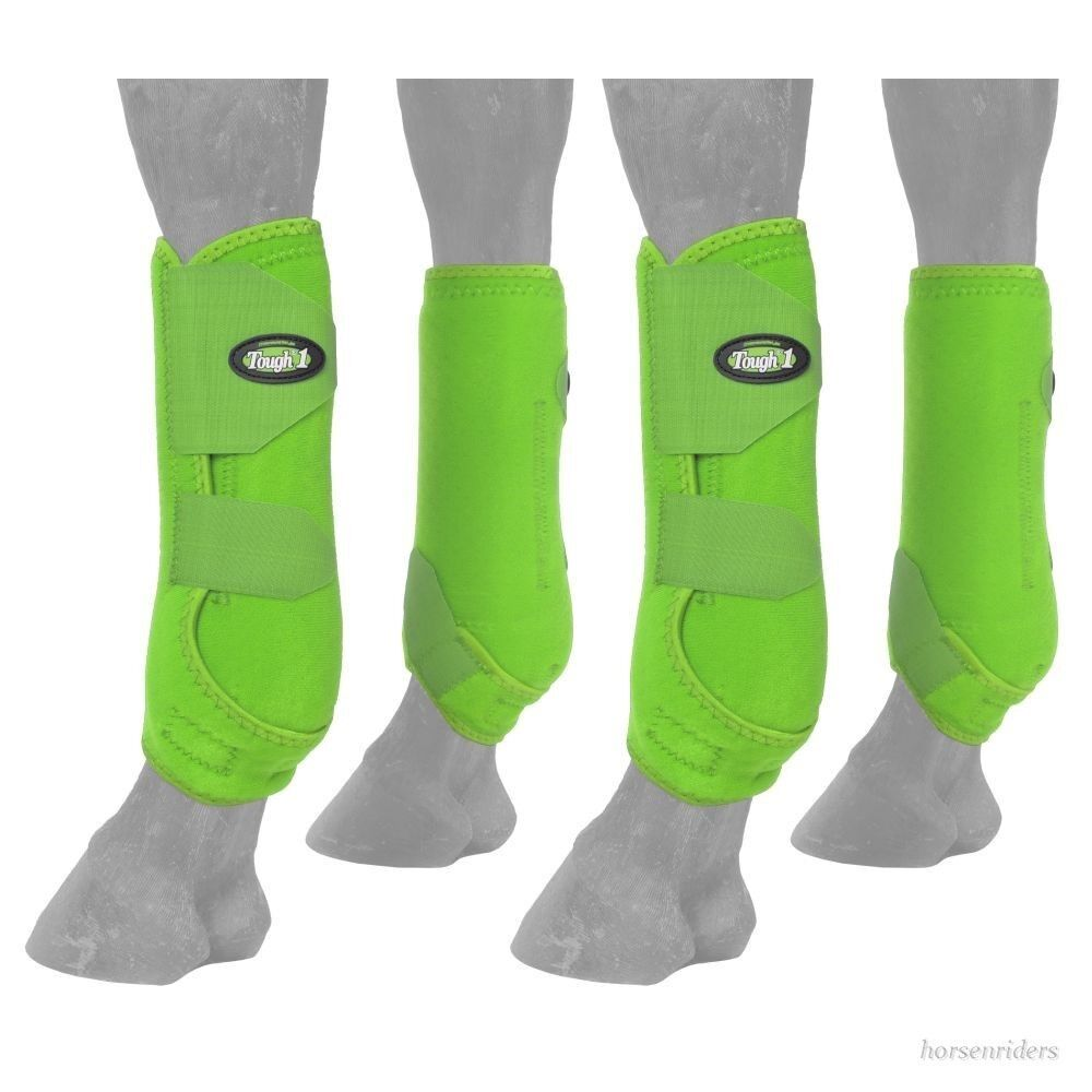 Horse Predective Sport Boots-Extreme Vented-Fronts & Rears-Neon Green-Medium
