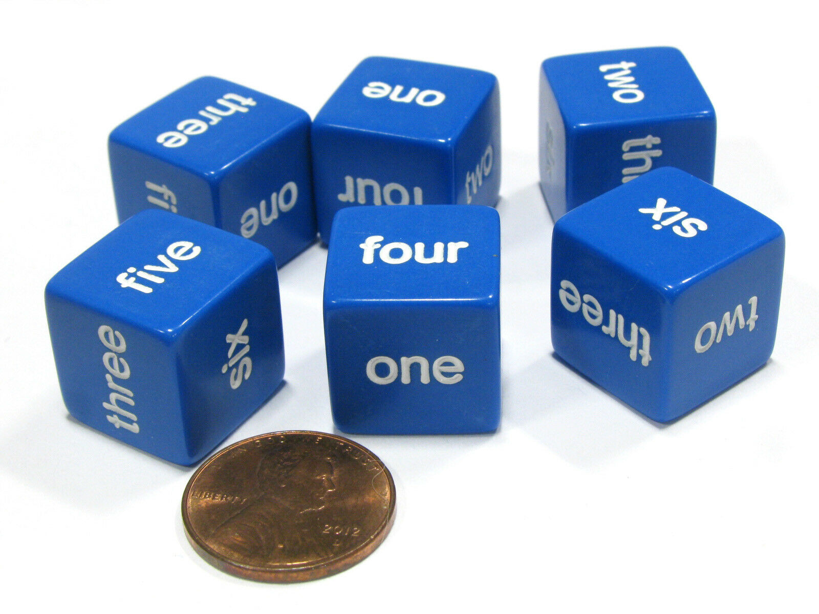 16mm White Black Blue Math D6 NEW Set of 6 Blank Dice